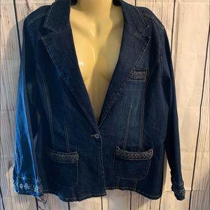 Ashley Stewart  Blue Jean Jacket Plus Size 16W
